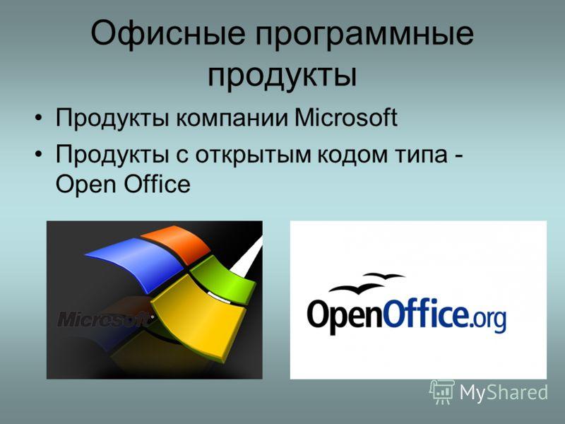 Офисные программные продукты Продукты компании Microsoft Продукты с открытым кодом типа - Open Office