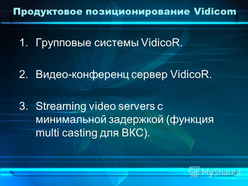 Продуктовое позиционирование Vidicom 1.Групповые системы VidicoR. 2.Видео-конференц сервер VidicoR. 3.Streaming video servers с минимальной задержкой (функция multi casting для ВКС).