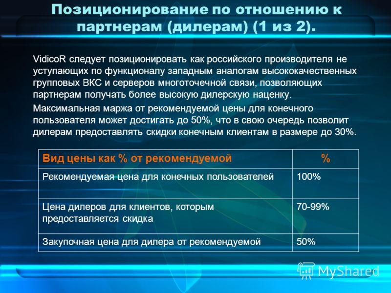 Позиционирование по отношению к партнерам (дилерам) (1 из 2). VidicoR следует позиционировать как российского производителя не уступающих по функционалу западным аналогам высококачественных групповых ВКС и серверов многоточечной связи, позволяющих па