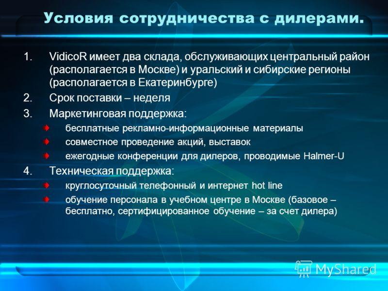 Условия сотрудничества с дилерами. 1.VidicoR имеет два склада, обслуживающих центральный район (располагается в Москве) и уральский и сибирские регионы (располагается в Екатеринбурге) 2.Срок поставки – неделя 3.Маркетинговая поддержка: бесплатные рек
