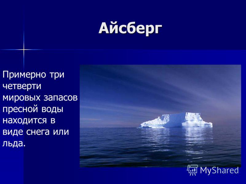 Айсберг Примерно три четверти мировых запасов пресной воды находится в виде снега или льда.