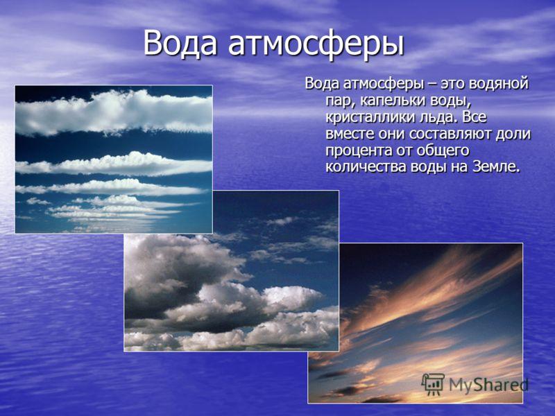 Вода атмосферы Вода атмосферы – это водяной пар, капельки воды, кристаллики льда. Все вместе они составляют доли процента от общего количества воды на Земле.