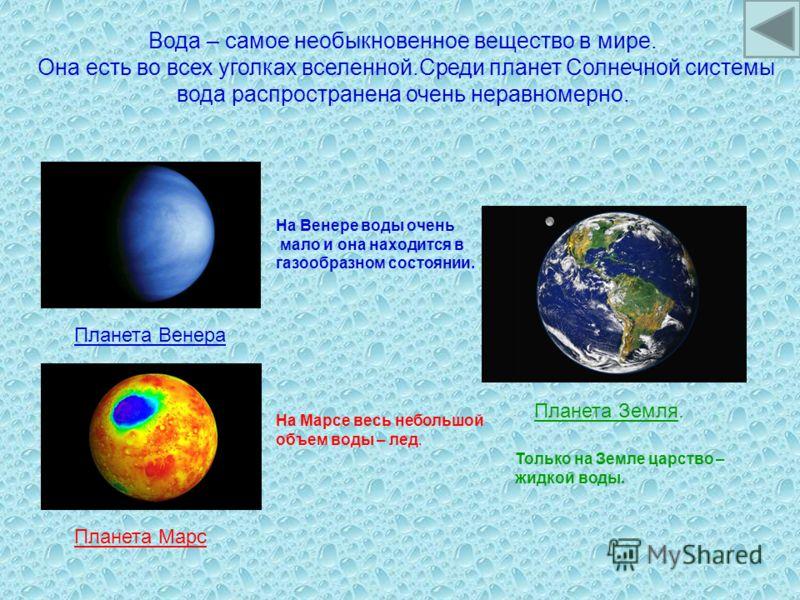 Вода – самое необыкновенное вещество в мире. Она есть во всех уголках вселенной.Среди планет Солнечной системы вода распространена очень неравномерно. Планета Венера На Венере воды очень мало и она находится в газообразном состоянии. Планета Марс На