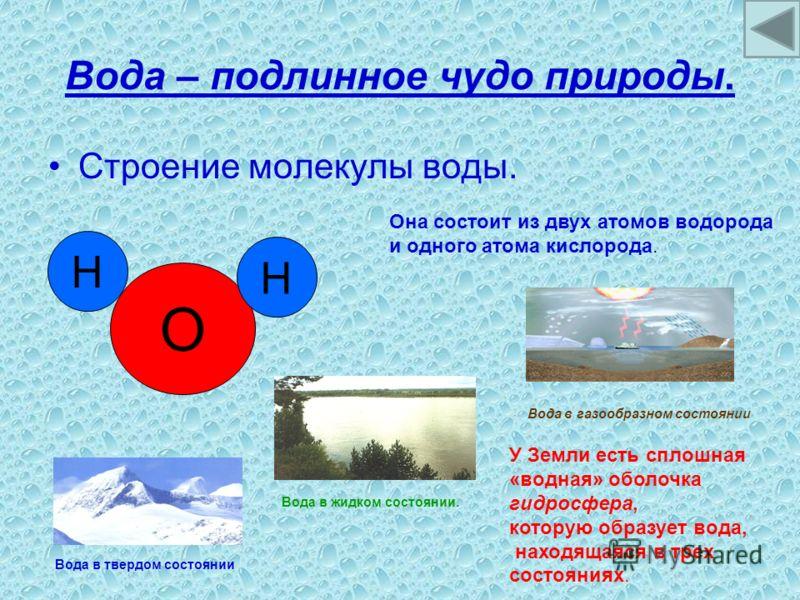 Вода – подлинное чудо природы. Строение молекулы воды. О Н Н Она состоит из двух атомов водорода и одного атома кислорода. У Земли есть сплошная «водная» оболочка гидросфера, которую образует вода, находящаяся в трех состояниях. Вода в твердом состоя