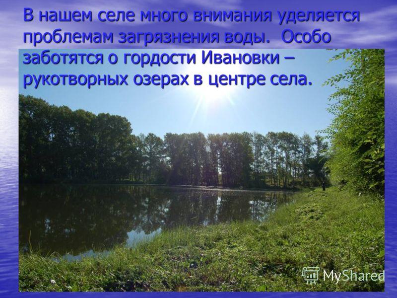 В нашем селе много внимания уделяется проблемам загрязнения воды. Особо заботятся о гордости Ивановки – рукотворных озерах в центре села.