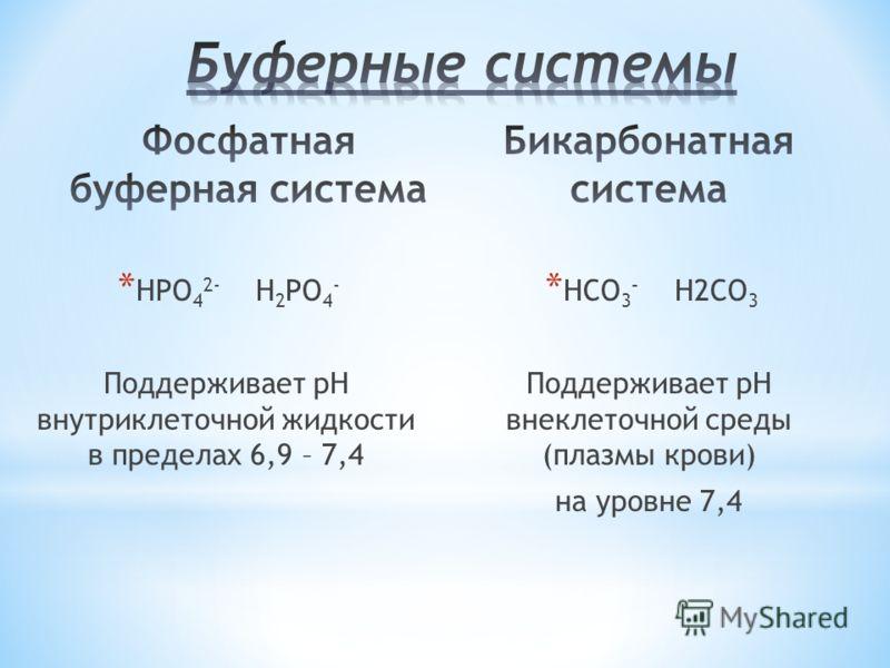 * HPO 4 2- H 2 PO 4 - Поддерживает рН внутриклеточной жидкости в пределах 6,9 – 7,4 * HCO 3 - H2CO 3 Поддерживает рН внеклеточной среды (плазмы крови) на уровне 7,4
