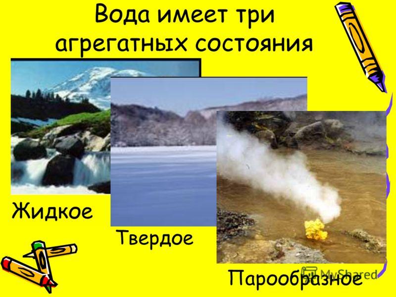 Вода имеет три агрегатных состояния Жидкое Твердое Парообразное