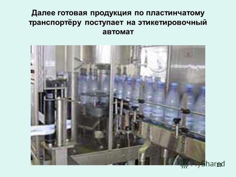 28 Далее готовая продукция по пластинчатому транспортёру поступает на этикетировочный автомат