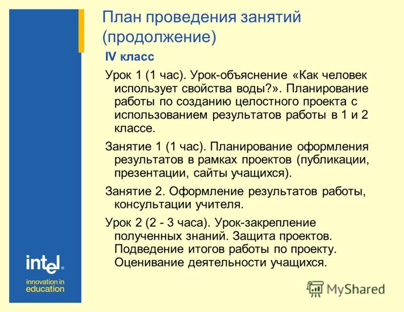 IV класс Урок 1 (1 час). Урок-объяснение «Как человек использует свойства воды?». Планирование работы по созданию целостного проекта с использованием результатов работы в 1 и 2 классе. Занятие 1 (1 час). Планирование оформления результатов в рамках п