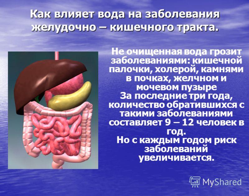 Как влияет вода на заболевания желудочно – кишечного тракта. Не очищенная вода грозит заболеваниями: кишечной палочки, холерой, камнями в почках, желчном и мочевом пузыре За последние три года, количество обратившихся с такими заболеваниями составляе