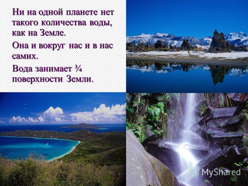 Ни на одной планете нет такого количества воды, как на Земле. Ни на одной планете нет такого количества воды, как на Земле. Она и вокруг нас и в нас самих. Она и вокруг нас и в нас самих. Вода занимает ¾ поверхности Земли. Вода занимает ¾ поверхности