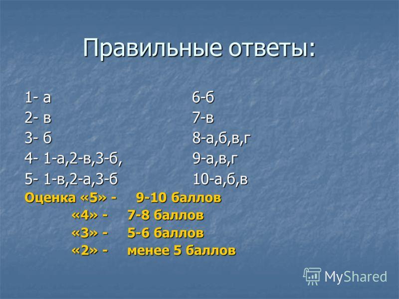 Правильные ответы: 1- а 6-б 2- в 7-в 3- б 8-а,б,в,г 4- 1-а,2-в,3-б, 9-а,в,г 5- 1-в,2-а,3-б 10-а,б,в Оценка «5» - 9-10 баллов «4» - 7-8 баллов «4» - 7-8 баллов «3» - 5-6 баллов «3» - 5-6 баллов «2» - менее 5 баллов «2» - менее 5 баллов