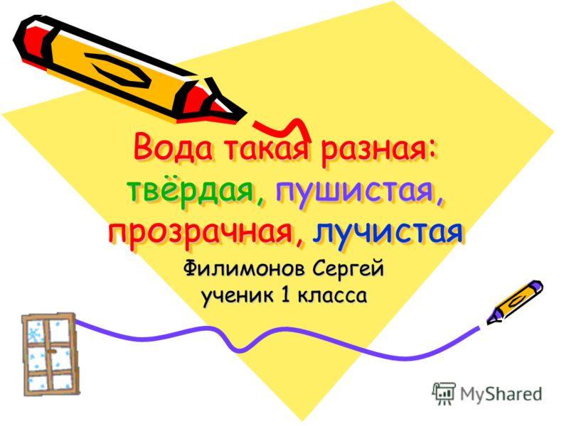 Вода такая разная: твёрдая, пушистая, прозрачная, лучистая Филимонов Сергей ученик 1 класса