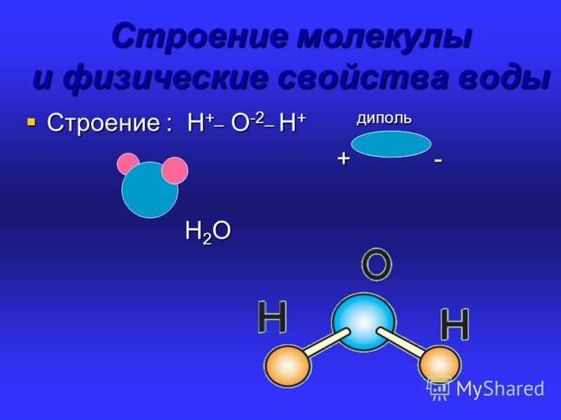 Строение молекулы и физические свойства воды Строение молекулы и физические свойства воды Строение : Н +_ О -2_ Н + диполь Строение : Н +_ О -2_ Н + диполь + - + - Н 2 О Н 2 О