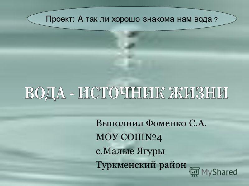 Выполнил Фоменко С.А. МОУ СОШ4 с.Малые Ягуры Туркменский район Проект: А так ли хорошо знакома нам вода ?
