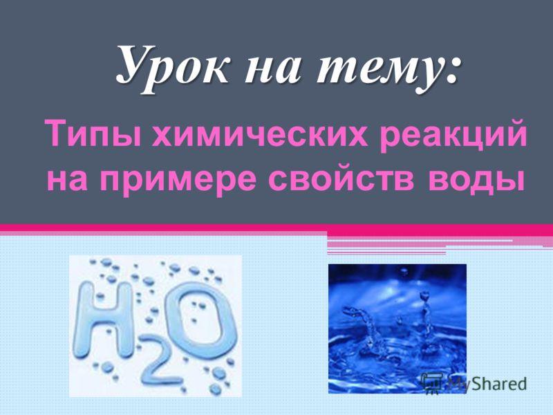 Типы химических реакций на примере свойств воды Урок на тему:
