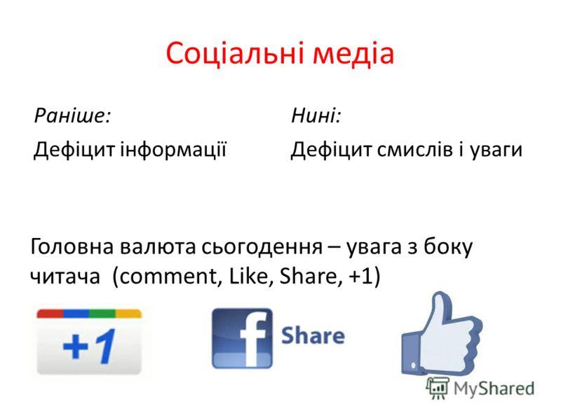 Соціальні медіа Раніше: Дефіцит інформації Нині: Дефіцит смислів і уваги Головна валюта сьогодення – увага з боку читача (сomment, Like, Share, +1)