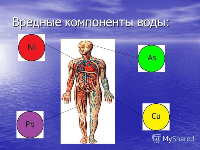Вредные компоненты воды: