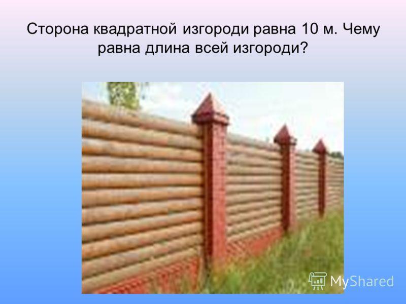 Сторона квадратной изгороди равна 10 м. Чему равна длина всей изгороди?