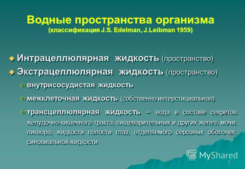 3 Водные пространства организма (классификация J.S. Edelman, J.Leibman 1959) Интрацеллюлярная жидкость (пространство) Интрацеллюлярная жидкость (пространство) Экстрацеллюлярная жидкость (пространство) Экстрацеллюлярная жидкость (пространство) внутрис