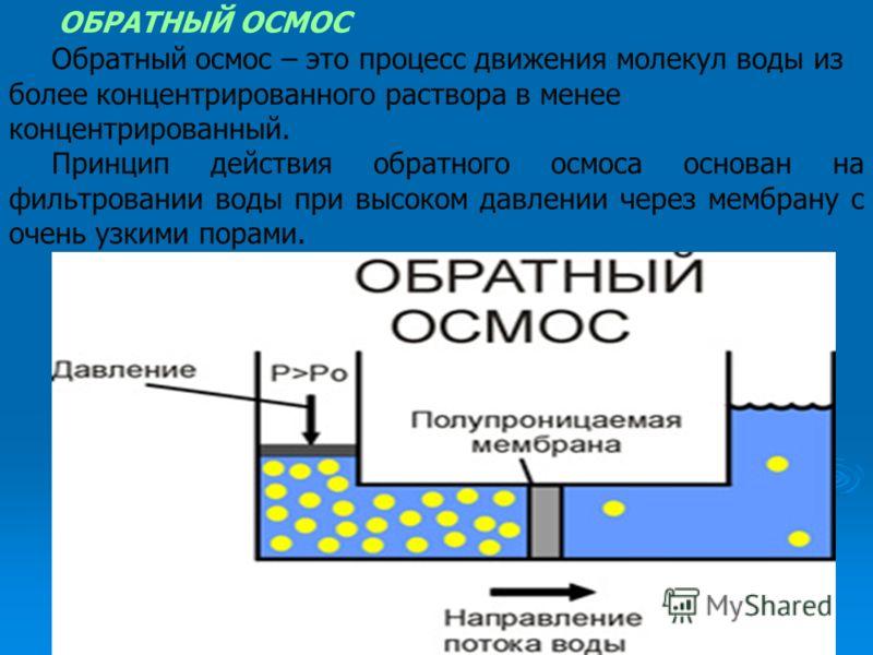 ОБРАТНЫЙ ОСМОС Обратный осмос – это процесс движения молекул воды из более концентрированного раствора в менее концентрированный. Принцип действия обратного осмоса основан на фильтровании воды при высоком давлении через мембрану с очень узкими порами