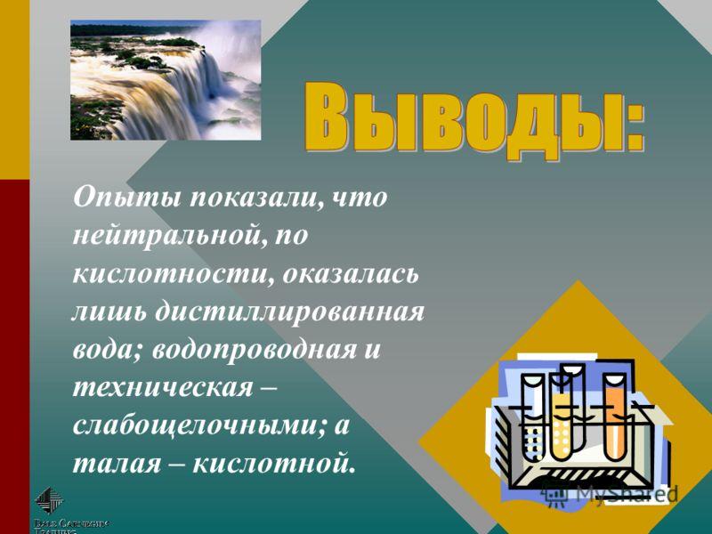 ДистиллированнаяВодопроводнаяТалаяТехническая рННейтральнаяСлабощелочнаяСлабокислот -ная Слабощелоч -ная