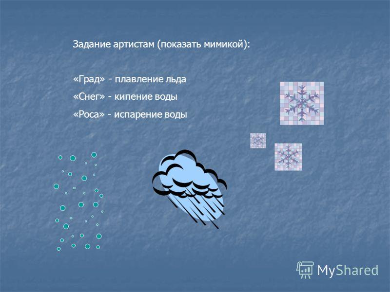 Задание артистам (показать мимикой): «Град» - плавление льда «Снег» - кипение воды «Роса» - испарение воды