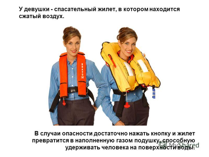 У девушки - спасательный жилет, в котором находится сжатый воздух. В случаи опасности достаточно нажать кнопку и жилет превратится в наполненную газом подушку, способную удерживать человека на поверхности воды.