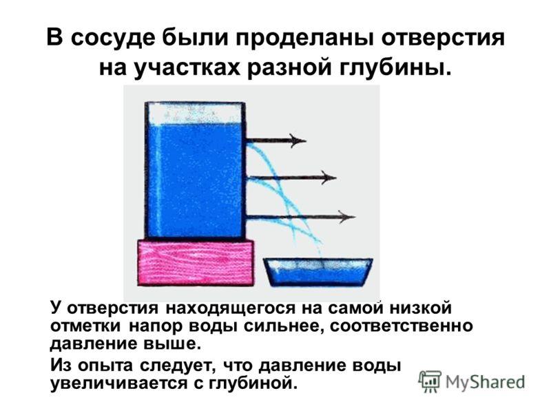 В сосуде были проделаны отверстия на участках разной глубины. У отверстия находящегося на самой низкой отметки напор воды сильнее, соответственно давление выше. Из опыта следует, что давление воды увеличивается с глубиной.