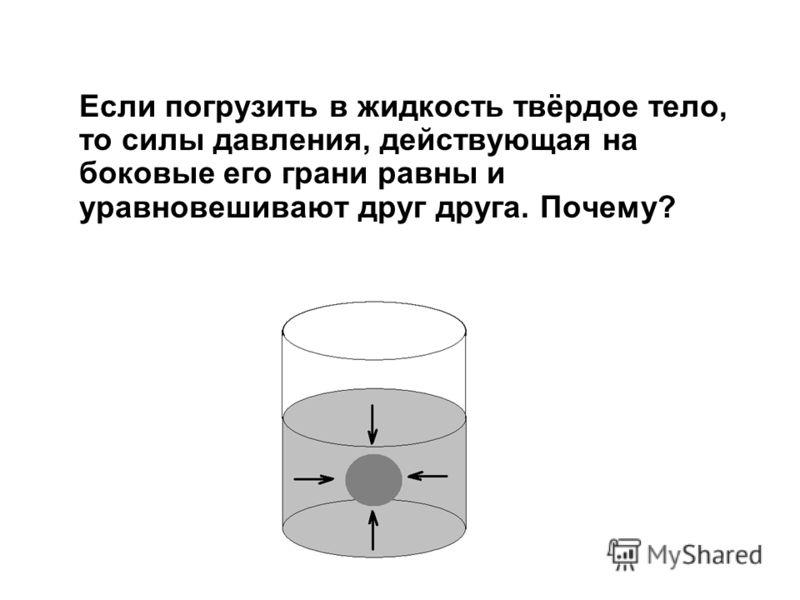 Если погрузить в жидкость твёрдое тело, то силы давления, действующая на боковые его грани равны и уравновешивают друг друга. Почему?
