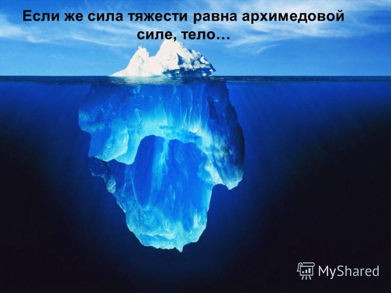 Если же сила тяжести равна архимедовой силе, тело…