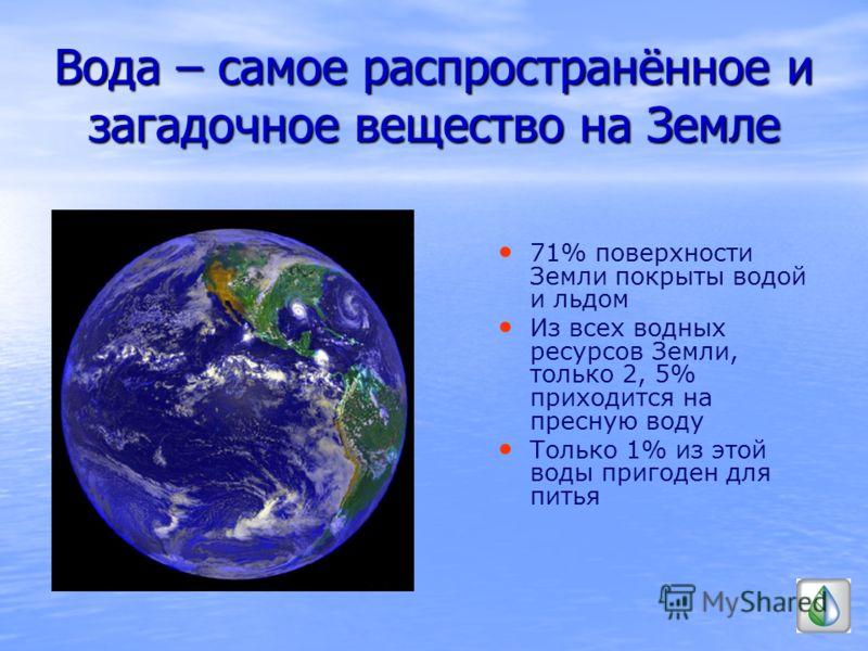 Вода – самое распространённое и загадочное вещество на Земле 71% поверхности Земли покрыты водой и льдом Из всех водных ресурсов Земли, только 2, 5% приходится на пресную воду Только 1% из этой воды пригоден для питья