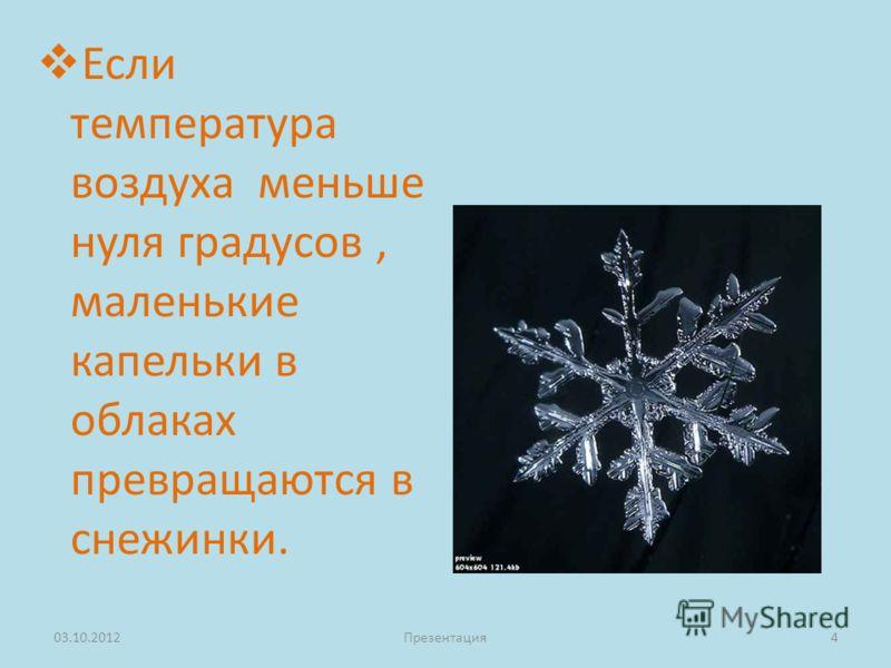Если температура воздуха меньше нуля градусов, маленькие капельки в облаках превращаются в снежинки. 23.08.2012Презентация4