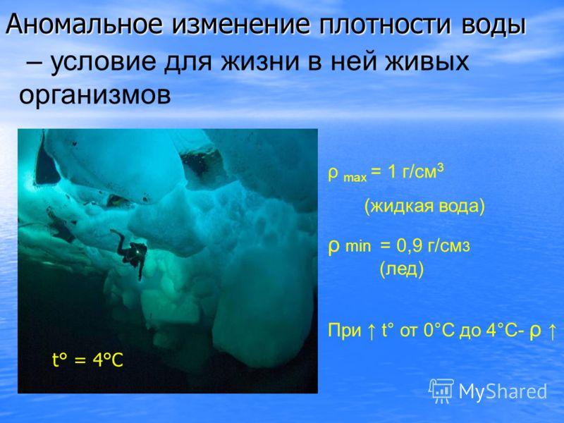 Аномальное изменение плотности воды ρ max = 1 г/см 3 (жидкая вода) ρ min = 0,9 г/см 3 (лед) При t° от 0°С до 4°С- ρ – условие для жизни в ней живых организмов t° = 4°С