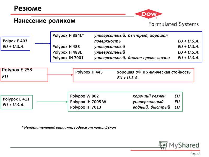 Стр. 48 Резюме Нанесение роликом Polypox E 253 EU Polypox H 354L*универсальный, быстрый, хорошая поверхностьEU + U.S.A. Polypox H 488универсальныйEU + U.S.A. Polypox H 488LуниверсальныйEU + U.S.A. Polypox IH 7001универсальный, долгое время жизниEU +