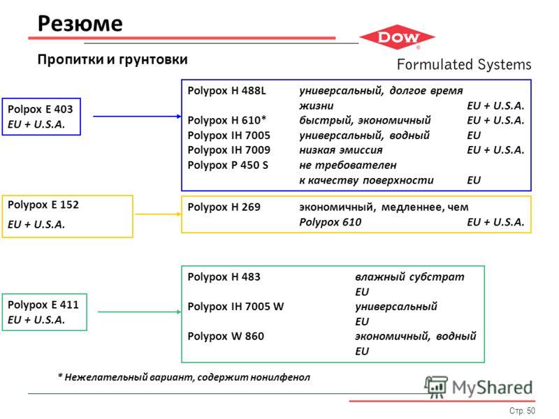 Стр. 50 Резюме Пропитки и грунтовки Polypox H 488Lуниверсальный, долгое время жизниEU + U.S.A. Polypox H 610*быстрый, экономичныйEU + U.S.A. Polypox IH 7005универсальный, водныйEU Polypox IH 7009низкая эмиссияEU + U.S.A. Polypox P 450 Sне требователе