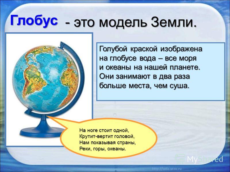 Голубой краской изображена на глобусе вода – все моря и океаны на нашей планете. Они занимают в два раза больше места, чем суша. На ноге стоит одной, Крутит-вертит головой, Нам показывая страны, Реки, горы, океаны. Глобус - это модель Земли.