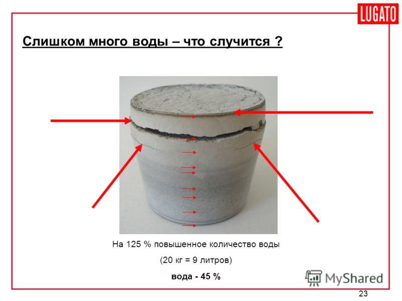 23 Слишком много воды – что случится ? На 125 % повышенное количество воды (20 кг = 9 литров) вода - 45 %