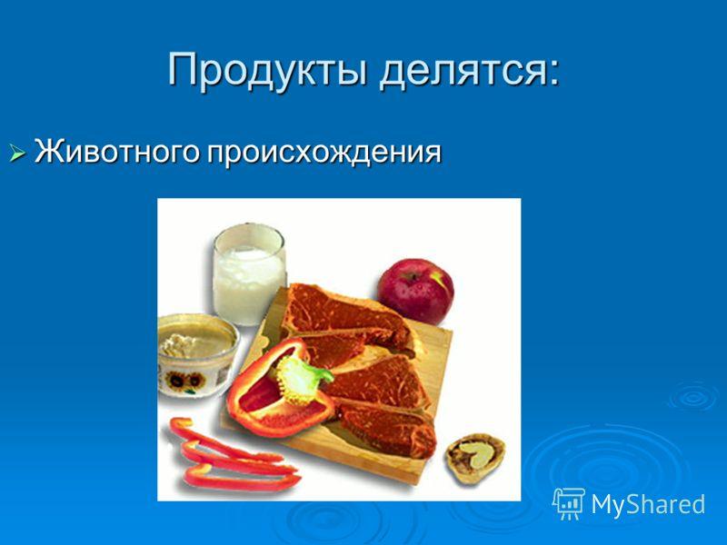 Продукты делятся: Животного происхождения Животного происхождения