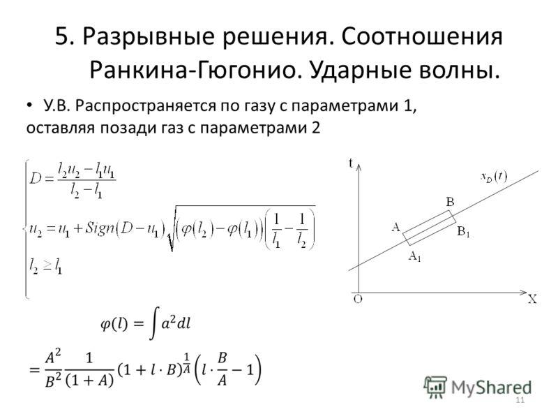 5. Разрывные решения. Соотношения Ранкина-Гюгонио. Ударные волны. 11 У.В. Распространяется по газу с параметрами 1, оставляя позади газ с параметрами 2