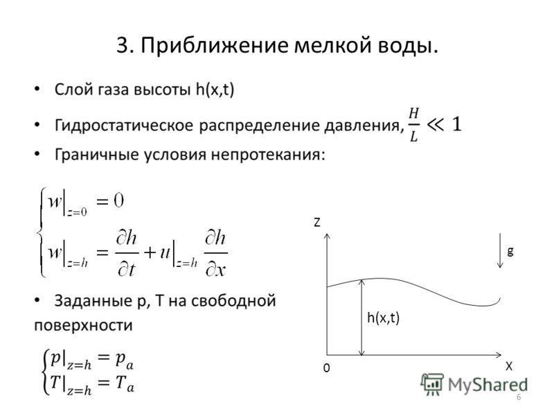 3. Приближение мелкой воды. 6 g Z h(x,t) 0 X