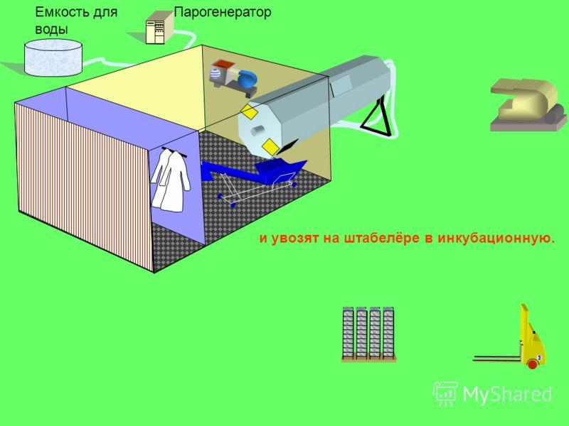 ПарогенераторЕмкость для воды и увозят на штабелёре в инкубационную.