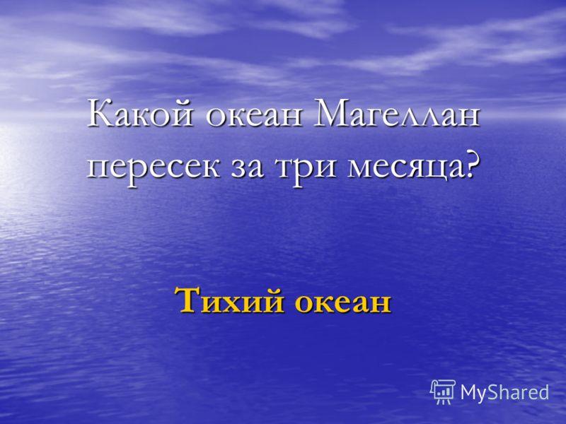 Какой океан Магеллан пересек за три месяца? Тихий океан