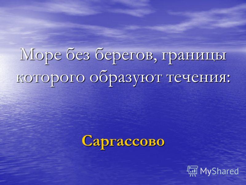 Море без берегов, границы которого образуют течения: Саргассово