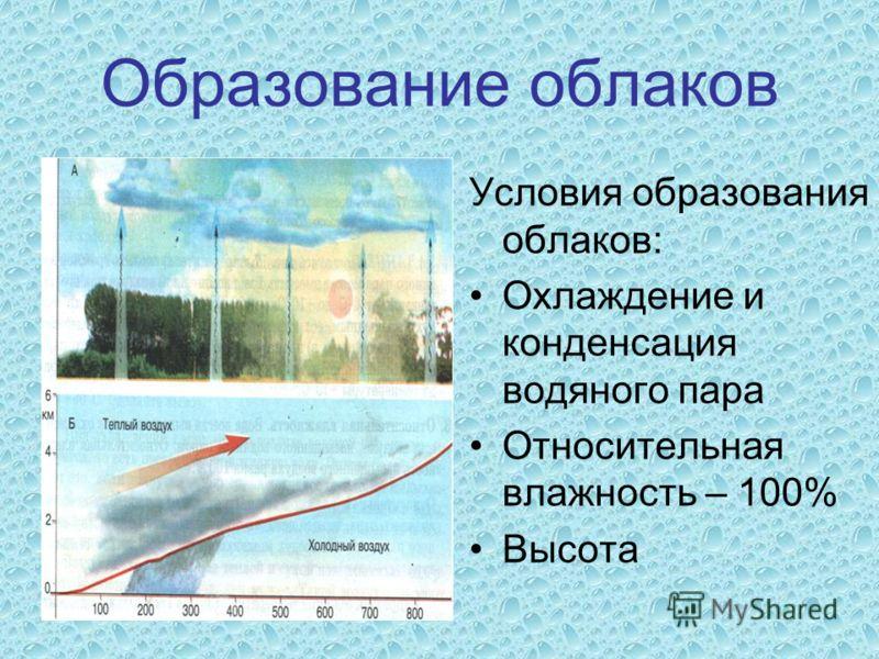 Образование облаков Условия образования облаков: Охлаждение и конденсация водяного пара Относительная влажность – 100% Высота