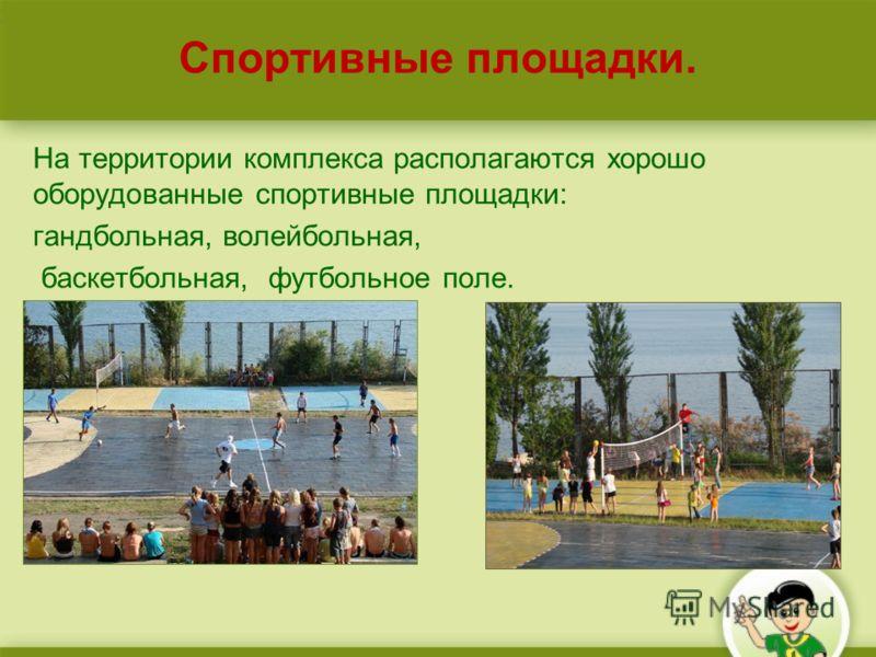 Спортивные площадки. На территории комплекса располагаются хорошо оборудованные спортивные площадки: гандбольная, волейбольная, баскетбольная, футбольное поле.