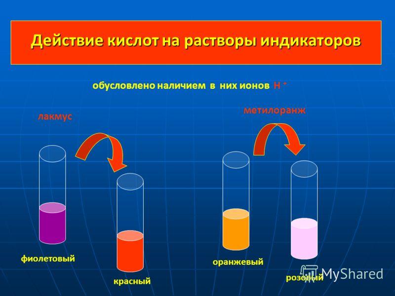 Действие кислот на растворы индикаторов фиолетовый красный оранжевый розовый лакмус метилоранж обусловлено наличием в них ионов Н +