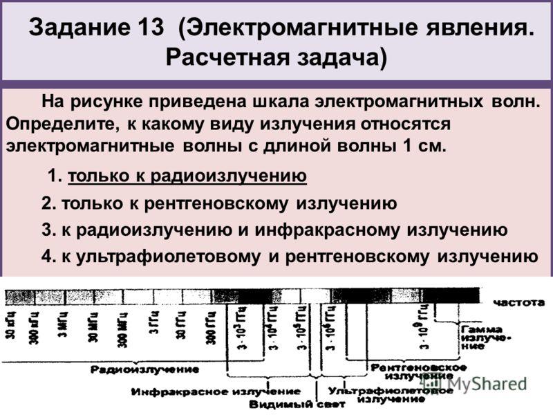 Задание 13 (Электромагнитные явления. Расчетная задача) На рисунке приведена шкала электромагнитных волн. Определите, к какому виду излучения относятся электромагнитные волны с длиной волны 1 см. 1. только к радиоизлучению 2. только к рентгеновскому