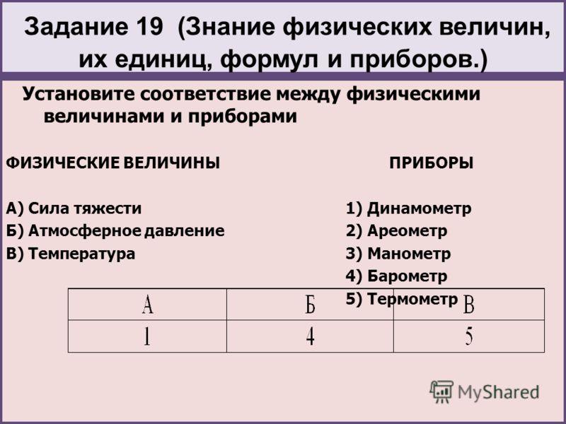 Задание 19 (Знание физических величин, их единиц, формул и приборов.) Установите соответствие между физическими величинами и приборами ФИЗИЧЕСКИЕ ВЕЛИЧИНЫ ПРИБОРЫ А) Сила тяжести1) Динамометр Б) Атмосферное давление2) Ареометр В) Температура3) Маноме