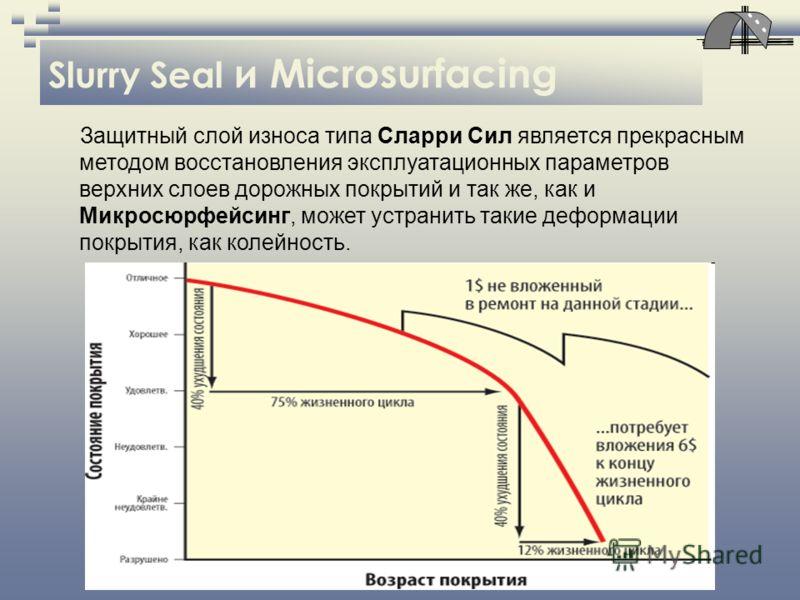 Slurry Seal и Microsurfacing Защитный слой износа типа Сларри Сил является прекрасным методом восстановления эксплуатационных параметров верхних слоев дорожных покрытий и так же, как и Микросюрфейсинг, может устранить такие деформации покрытия, как к